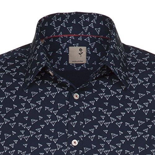 Seidensticker Herren Langarm Hemd Schwarze Rose Slim Fit blau / weiß 240450.19 Blau