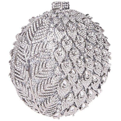 Santimon Clutch Delle Donne Fogliame Fiore Borsellini Forma Rotonda Borsa Di Strass Da Festa di Nozze Sera Con Tracolla Amovibile 3 Colori argento