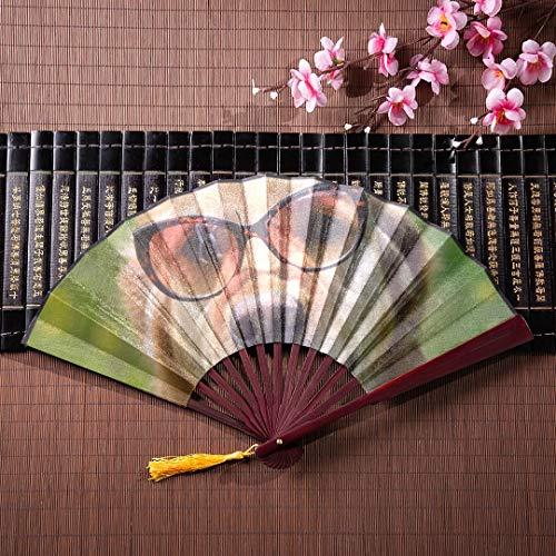 EIJODNL Hand Fan Folding Golden Retriever Hund Sonnenbrille Mit Bambusrahmen Quaste Anhänger Und Stoffbeutel Dekorative Fans Japanischen Chinesischen Fan Wand Spaß Hand Fan (Hochzeit Sonnenbrille Personalisierte)
