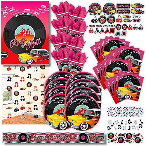 50er Jahre Rock n Roll Party Set XL 71-teilig 8 Gäste 80 Fünfziger Rollabilly Deko Partypaket (Party Deko 50er Jahre)