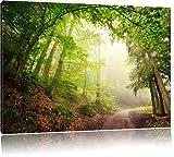 Sonnenstrahlen Waldweg, Bild auf Leinwand, XXL riesige Bilder fertig gerahmt mit Keilrahmen, Kunstdruck auf Wandbild mit Rahmen, günstiger als Gemälde oder Ölbild, kein Poster oder Plakat, Format:120x80 cm