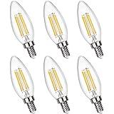Ampoule Bougie C35 E14 4W Dimmable Blanc Chaud 2700K, 4x COB Filament, Équivalent Incandescent E14 40W, 400LM, 230V, Ampoule