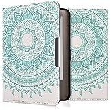 kwmobile Hülle für Tolino Shine / Page - Flipcover Case eReader Schutzhülle - Bookstyle Klapphülle Indische Sonne Design Mintgrün Weiß