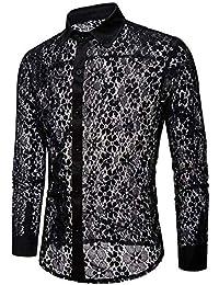 Doublehero Herren Herbst Casual Hemd Reizvoller Hohl Langarmshirt Slim Fit,  Mode Spitzen Transparent Freizeithemd Clubwear… 47a39b06b3