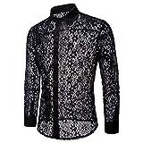 Doublehero Herren Herbst Casual Hemd Reizvoller Hohl Langarmshirt Slim Fit, Mode Spitzen Transparent Freizeithemd Clubwear Partyhemd Elegant T-Shirt Top Bluse