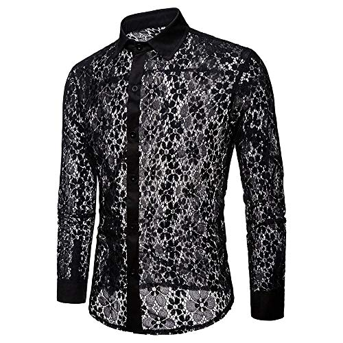 rbst Casual Hemd Reizvoller Hohl Langarmshirt Slim Fit, Mode Spitzen Transparent Freizeithemd Clubwear Partyhemd Elegant T-Shirt Top Bluse ()