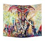 Ysayc Bohemian Stil Elefant Tapisserie Trippy Bunt Hippie Schlafzimmer zu Hause Wohnheim 3D Drucken Wanddekoration Tapisserie Badetuch Hintergrund staubdichtes Tuch, B, 150*200cm