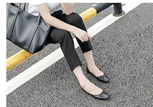 WTUS Femme Cravate Mocassin Femme Casual Plat Tout-match Chaussures Sandales Noir