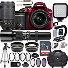 Nikon D3400 24.2 MP DSLR Camera (Red) Video Kit With AF-P 18-55mm VR Lens, AF-P 70-300mm ED VR Lens & 500mm Lens + LED Light + 32GB Memory + Filters + Macros + Deluxe Bag + Professional Accessories