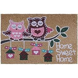"Felpudo ""pink owl"" fibra de coco"