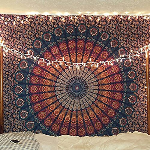 Tema de color naranja azul Mandala Tapestriy pared,peacock tapiz tapiz indio psicodélico, ropa de cama, Bohemio, estampados florales colgantes de pared cama queen cubierta,tapiz de hippie raajsee(220*240 cms).