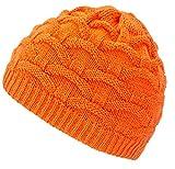 4sold Wave Damen Wurm Winter Wintermütze Style Beanie Mütze Wendemütze mit Fellbommel HAT SKI Snowboard (Orange)