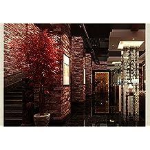"2PCS 53cm (20.8 "") x 10m (393.7"") Papel pintado de ladrillo rojo Papel pintado del ladrillo Vintage 3D Efecto Piedra natural en relieve Piedra Brick Tile Vinyl Wallpaper"