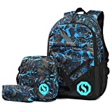 Jugendlichen Jungs Schulrucksack Casual Canvas Jungen Schultasche mit Fluoreszenz 3 Teiliges Schultaschen-Set + Umhängetasche + Geldbeutel/Mäppchen (Blau)