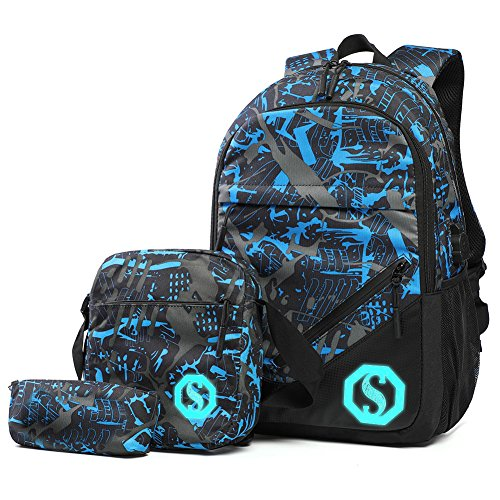 Graffiti Rucksack, drei Set of School Bag Light-Weight Rucksack mit externem USB-Ladestation