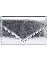 CASPAR TA424 stylisch elegante Damen Metallic Envelope Clutch Tasche Abendtasche mit langer Kette