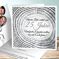 Einladungskarten Silberhochzeit Lustig, Baumringe 5 Karten, Quadratische  Klappkarte 145x145 Inkl. Weißer Umschläge,