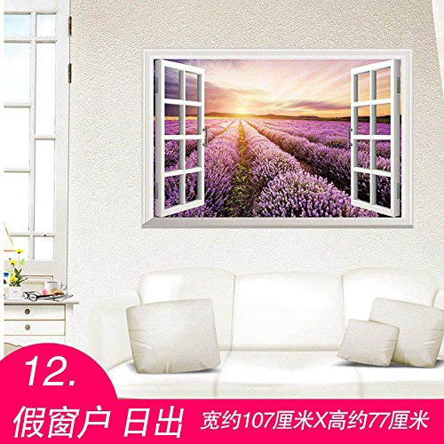 Decke Falscher (Poowef 3D Dreidimensionale Wand Aufkleber Star Wallpaper Aufkleber Dekor Der Zimmer Schlafzimmer - Wohnzimmer Wand Decke Dach, 12 Falsche Windows Sunrise)
