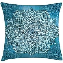 Proud Clothing Mandala - Funda de cojín, diseño de flor de loto indio con encaje oriental vibrante, decoración espiritual de Zen, funda de almohada decorativa cuadrada, 45,7 x 45,7 cm, color azul