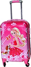 """EXCLUSIVE FASHION LUGGAGE Girl's 360 Degree Polycarbonate Barbie Printed Pattern Non-Breakable Rotating Lugguge Bag with Wheels (Pink, Exfbarpink16"""")"""