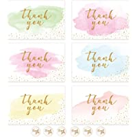12 Pack Thank You Cards Pack, Watercolor Thank You Cards with Stickers and Envelopes, Thank You Cards for Children, Teacher, Birthday, Weddings and Baby Shower