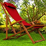Liegestuhl Deckchair | Akazienholz | Klappbar | Atmungsaktiv | Reisebegleiter - Sonnenliege Liegestuhl Strandstuhl Stuhl Gartenliege Relaxliege - Farbwahl - Rot