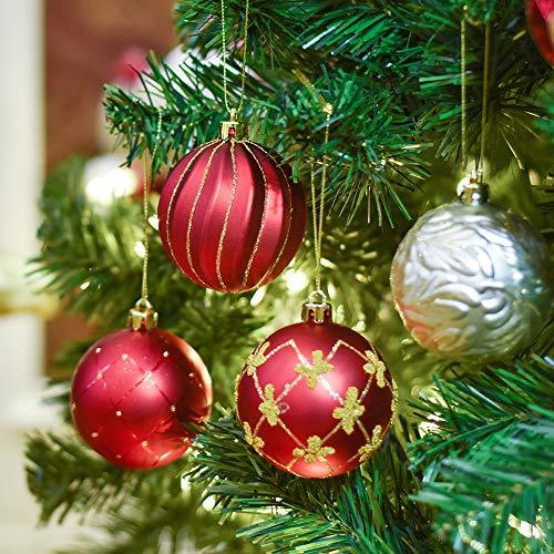Valery Madelyn 24 Stücke 7CM Weihnachtskugeln Kunststoff Luxus Rot und Gold Thema Glänzend Glitzernd Matt Christbaumkugeln Set mit Aufhänger Weihnachtsbaumschmuck Weihnachten Dekoration