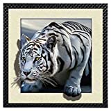 #4: 100% Eye Caching Awesome 3D IMMAX/5D Effect Photo frame for home décoration With 5D effect Royal White tiger for home decoration & wall hanging frame for room decoration(High Quality- 5D Royal white tiger Effect)