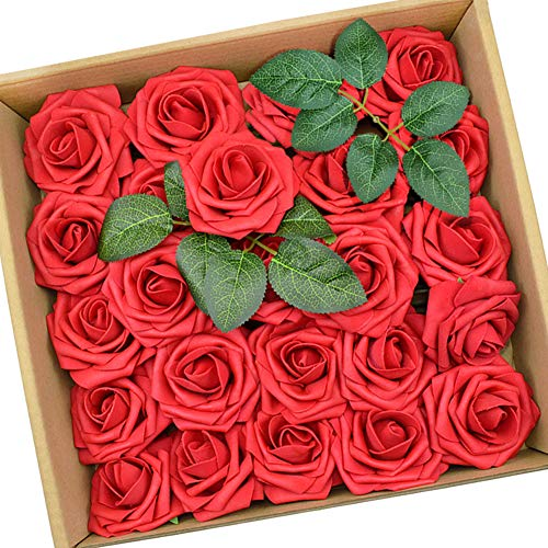 Blumen rote Rosen Kunstblumen Hochzeitsdekoration 25 Stück ()