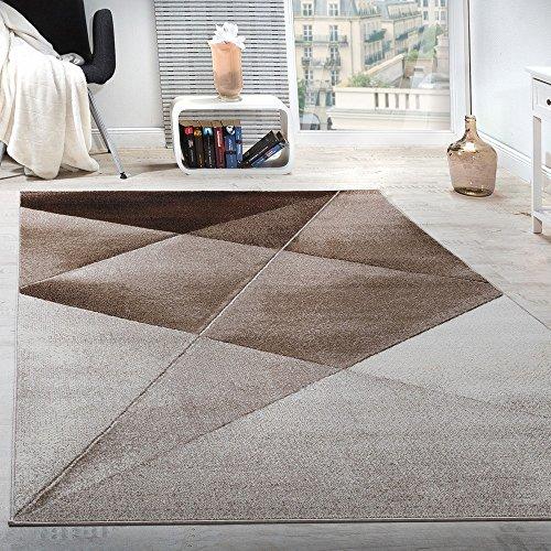 Alfombra De Diseño Moderno De Velour Geométrico Mezclado En Marrón Beige Y Blanco, Grösse:200x280 cm