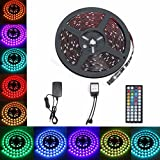Flexible Lumineuse, GLISTENY Bande Lumineux 5M 5050 RGB 150LED Multicolore Etanche Strip Light +12V3A Adapteur + 44Touches Infrarouge Telecommande Pour fete Noel Home DIY Decoration Ruban LED...