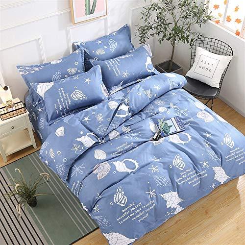 UOUL Bettwäscheset Baumwolle 4-teilig Tier Eisbär Kind Schlafzimmer Blau Jugend Doppel Einzel,Conch,California King - California Quilt King Navy