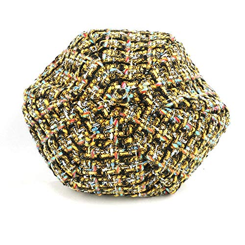 Nosterappou Modischer europäischer und amerikanischer Farbplaid-Tweed-Kürbis-Hut-weiblicher Herbst und -