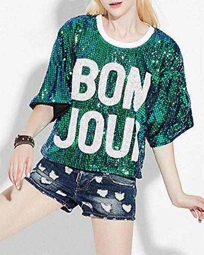 Damen Pailletten Oberseite Lose Kurze Tops Party Show T-Shirt Grün