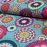 Decoratieve stof donker mint mandala canvasstoffen ornamenten decoraties - prijs geldt voor 0,5 meter