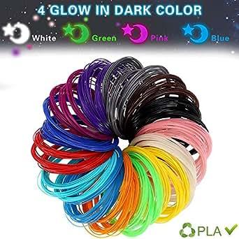 LANMU 3D filamento Ricariche Stampante 3D Penna Filament Ricariche PLA 1.75mm filamento 14 colori diversi (comprende 4 Glow in the Dark) a 20 piedi lunghezze