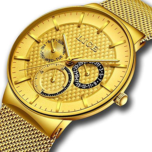 Herrenuhren Wasserdichte Edelstahl Minimalistische Uhr Elegante Lässig Uhren Analog Quarz Milanese Armband Uhren Business Mode LIGE Luxus Armbanduhr Gold für Männer Geschenk (Goldene Designs Sauna)