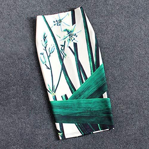 HEHEAB Rock,Pflanzenblumen, Grüne Blätter, Polyester, Baumwolle Plus Size Damen Röcke Lässige Print Blumen Bleistiftrock Lolita Style Knielange Röcke, XL - Style-blumen-print
