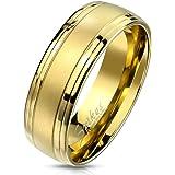 Paula & Fritz®, anello in acciaio inox sabbiato a doppia linea, oro 8 mm di larghezza, anello da uomo, anello di fidanzamento