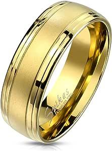 Paula & Fritz®, anello in acciaio inox sabbiato a doppia linea, oro 8 mm di larghezza, anello da uomo, anello di fidanzamento, anello dell'amicizia, anello per partner 57 (18,1) – 72 (22,9)