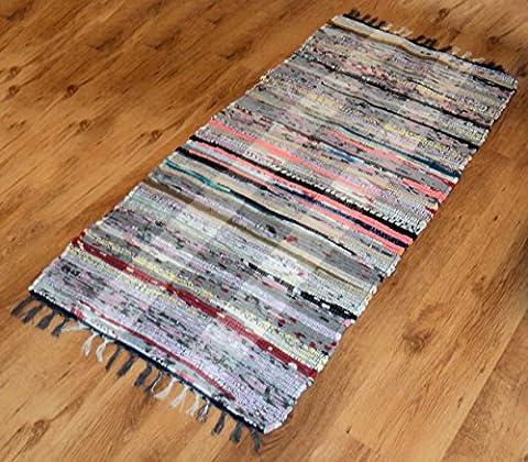 65x125cm Multi Colour 100% Cotton Floor Mat, Recycled Handmade Chindi