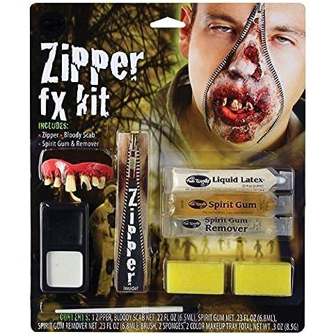 Deluxe con fotografía y negativo de maquillaje de noche de brujas de zombi con cremallera FX conjunto de tarjeta de Accessory