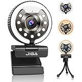 Webcam 1080P per PC, Webcams Full Hd con Microfono, Fotocamera Usb con 3 Luci e Luminosità, Treppiede, Grandangolo di 90°, Pa