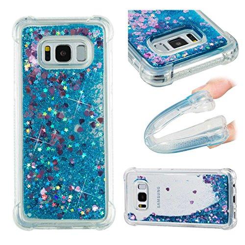 Thrion Original Glitzer Flüssig Treibsand Clear Transparent TPU Bumper Smartphone Handyhülle Schutzhülle für Galaxy S9 Case Cover Handy Hüllen - Blau