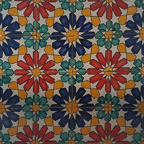 "Handbemalte marokkanische Fliese orientalische Keramik Fliese Motiv Mosaikfliese""Eldina"" 10 x 10 cm"