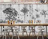 HONGYAUNZHANG Schwarz Und Weiß Bäume Benutzerdefinierte Fototapete 3D Stereoskopischen Wandbild Wohnzimmer Schlafzimmer Sofa Hintergrund Wandmalereien,110Cm (H) X 190Cm (W)