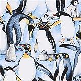 Hellblauer Stoff mit Pinguinen von Timeless Treasures