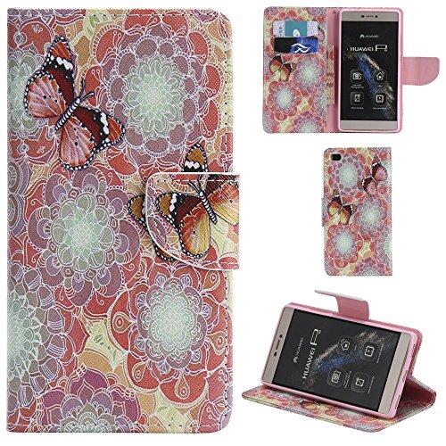 Ooboom® Huawei P8 Lite Coque PU Cuir Flip Housse Étui Cover Case Wallet Portefeuille Fonction Support avec Porte-cartes pour Huawei P8 Lite - Don't Touch My iPhone Papillons