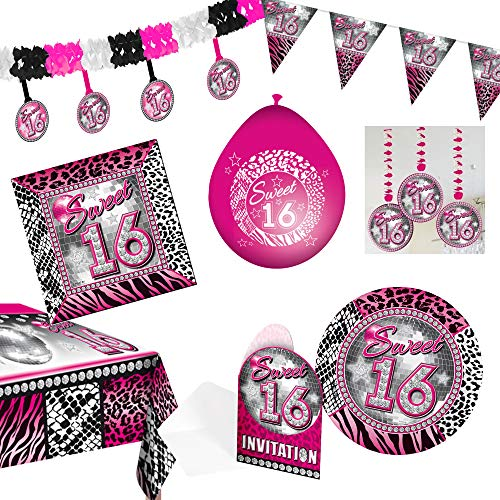 Unbekannt 50-teiliges Sweet 16 Party-Set inkl. Teller, Servietten, Einladungen, Tischdecke und Dekoration (Sweet 16 Party-einladungen)
