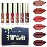 Beauty Glazed 6PCS Sexy Matte Lip Gloss, Rossetto liquido duraturo Idratante impermeabile Labbra professionale Balsamo trucco